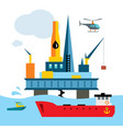 offshore drilling platform flat style vector image