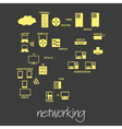 it computer networking symbols simple banner eps10 vector image