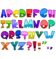 bright cartoon alphabet vector image vector image