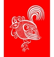 original red line art rooster calligraphy drawing vector image