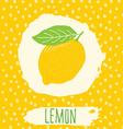 Lemon hand drawn sketched fruit with leaf on vector image