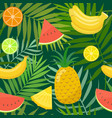 seamless pattern of palm leaves and fruits vector image