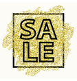 Sale type on Golden glitter background with light vector image