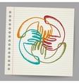 Doodle Teamwork hands on sheet of paper vector image vector image