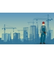 Builder man worker on the under construction vector image