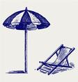 Chair and beach umbrella vector image