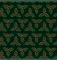 christmas red green mistletoe seamless pattern vector image