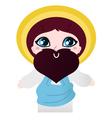 Cute Jesus Christ character isolated on white vector image