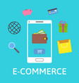 e-commerce concept online wallet smartphone with vector image