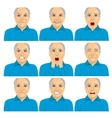 senior man making different face expressions vector image