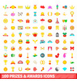 100 prizes and awards icons set cartoon style vector image