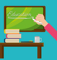 teacher with class board and study tools vector image