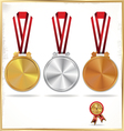 Medals gold silver and bronze vector image vector image