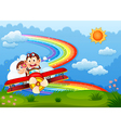 A plane with two boastful monkeys and a rainbow in vector image