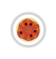 stylish paper sticker pizza with mushrooms and vector image