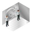 closed steel bank vault door closed door to the vector image