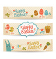 happy easter doodle banners set vector image