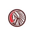Native American Warrior Chief Circle vector image