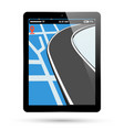 pc tablet screen with gps navigation vector image