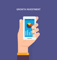 people holding smart phone for check stock market vector image