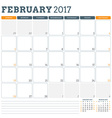 Calendar Planner Template for February 2017 Week vector image