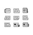 newspaper icon set vector image vector image