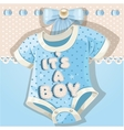 Baby shower blue card with baby shoes vector image vector image