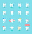 cartoon tooth characters set vector image