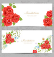 invitation cards with a red roses for your design vector image vector image