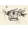 Street with Tram Vintage Engraved vector image