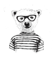 Hand drawn of dressed up hipster bear vector image vector image