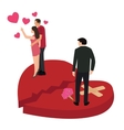 broken heart woman with another man cheating vector image