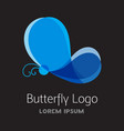 colorful blue butterfly logo template vector image
