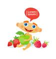cute baby boy holding apple toddler happy cartoon vector image