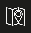 pin on the map icon on black background vector image