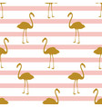 seamless pattern with golden flamingos vector image