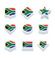 south africa flags icons and button set nine vector image