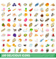 100 delicious icons set isometric 3d style vector image