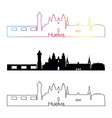huelva skyline linear style with rainbow vector image