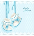 Baby shower card with blue booties and lace vector image