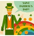 Saint Patricks Day with hipster leprechaun vector image
