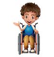 A happy man riding on a wheelchair vector image vector image