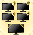 Black LCD TV icons vector image