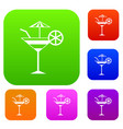 fruit cocktail set collection vector image