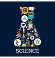 Science conceptual beaker emblem vector image vector image