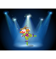 A stage with a playful clown vector image vector image