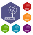 wifi router icons set hexagon vector image
