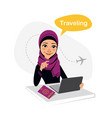 travel agency banner arab woman works in office vector image