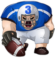 Blue White Football Player Kneels and Holds Ball vector image vector image