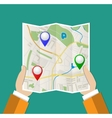 Folded Paper Map In Hand vector image